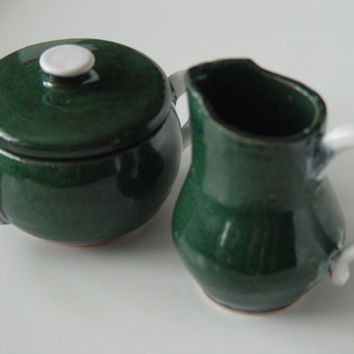 Small Sugar Bowl & Cream Pitcher set,  pottery Kitchen storage canister, Lidded White and Forest Green, Wheel Thrown