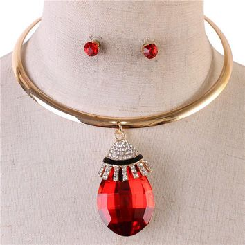 "16"" gold 2.25"" red teardrop crystal choker necklace .25"" earrings"