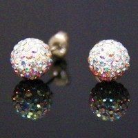 Shamballa Colorful Opal Crystals on 925 Silver Stud Earrings