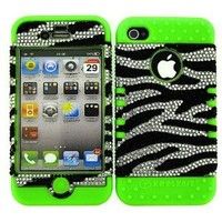BUMPER CASE FOR IPHONE 4 SOFT LIME GREEN SKIN HARD BLING CLEAR ZEBRA COVER