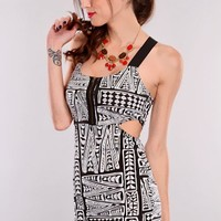 Black Grey Elastic Straps Printed Dress