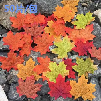50Pcs Artificial Cloth Maple Leaves Multicolor Fall Leaf For Art Scrapbooking Wedding Bedroom Wall Party Decor Craft 8zcx847-3