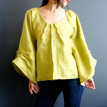 Green Linen Top, Womens Handmade Blouse, Bell Sleeve Loose Fit Top, Citrus Lime Green, Oversized Kimono Top, Womens Unique Modern Clothing