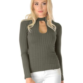 Lyss Loo Glamorous Ribbed Brown Long Sleeve Cut-Out Top