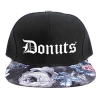 DONUTS SNAPBACK HAT - BLACK + GRAY FLORAL