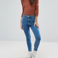 ASOS PETITE RIDLEY Ankle Grazer Jeans in Lily Wash at asos.com