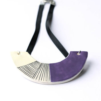 Ceramic statement necklace, geometric jewellery, purple bib necklace