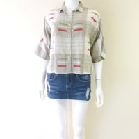 Vintage Woman's Crop Top Color Block Shirt Dolman's Sleeve Button Down Light Weight Cotton Shirt Cotton Top Medium