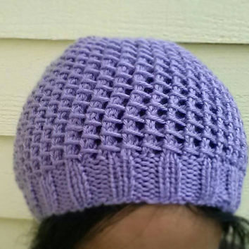 Hand Knit Bamboo Stitch Mesh Hat/Beanie with Slight Slouch Fits Children and Adults Choose from a Variety of Colors