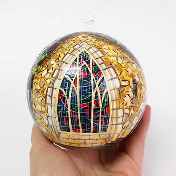 "4 2/3"" Custom order Christmas glass ornament- Hand painted blown glass ball. The price depends on the difficulty of the painting."