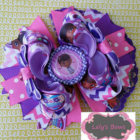 Doc Mc Stuffins inspired OTT Stacked Boutique Hair Bow