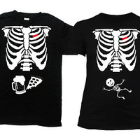 Halloween Pregnancy Announcement Skeleton Shirt Couples Costume T Shirt Baby Reveal Expecting Parents Mom To Be New Daddy TShirt - SA845-378