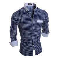Hot Sale Classics Plaid Men Slim Casual Long Sleeve Tops Shirt [6541443779]
