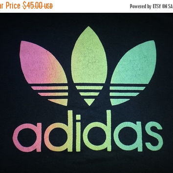 New Year Sale Vintage 1980s Adidas Big Logo Multicolour Rainbow T Shirt Big Logo Hip Hop Swag High Street Fashion