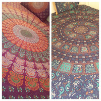 Indian Peacock Mandala Hippie Bohemian Double Duvet Covers (Reversable ) Excl Design for Duvet..Two designs at the cost of one.