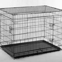 "New Black 48"" 2 Door Pet Cage Folding Dog Cat Crate Cage Kennel w/ABS Tray"