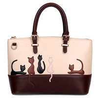 Ladylike Women's Tote Bag With Animal Pattern and Color Block Design