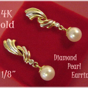 "14K Gold  ~ Diamond & Pearl Spiral Swirl 1 1/8"" Earrings - Gift Boxed - New Age"