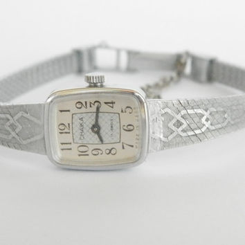 "Womens watches, Silver vintage watch, Soviet watch, Women's soviet watch, Vintage watch, Russian watch, ""Chaika"" 17 jewels, Mechanical watch"
