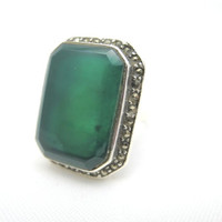 Vintage Art Deco Ring - Chrysoprase, Marcasite and Sterling Silver - Huge