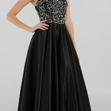 Black Cut Out Back Beaded Long Prom Dress with Pockets