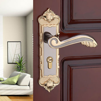 European Modern Interior Room Bedroom Door Handle Locks Amber White Solid Wood Door Lock Hardware Indoor Locks Bronze Mute Locks