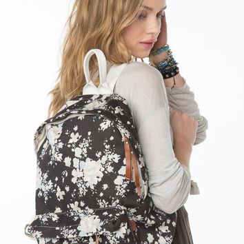John Galt Black Floral Backpack