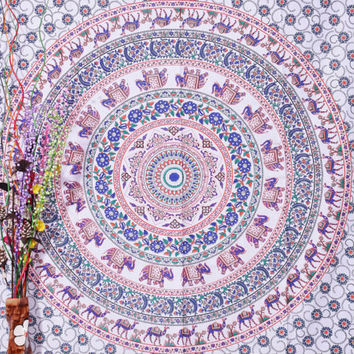 White Indian Mandala Tapestry, Peacock Mandala Bedspread, Indian Tapestry, Peacock Feather Pattern Indian Tapestry , bohemian wall hanging