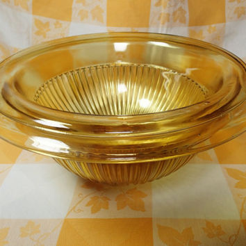"Federal Glass Amber Glow Mixing bowl set 11 1/2"" AND 10 1/2"" Mixing Bowls, Serving Bowls"