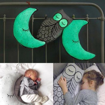 Lovely Glow In The Dark Night Light Moon Star Bulb Cushion Plush Pillow Stuffed Toy Baby Appease Dolls Decoration Gifts For Kids