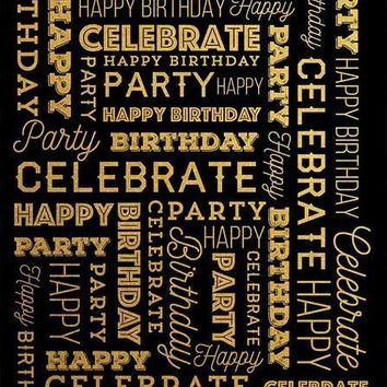 Custom Celebrate Happy Birthday Gold Lettering Platinum Cloth Backdrop with GROMMETS- 6x8 - LCPC0172 - LAST CALL