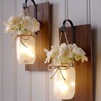 Mason Jar Wall Sconce Set Fairy Lights Hanging Rustic Country Farmhouse Decor
