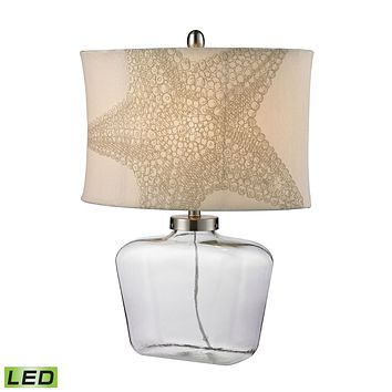 D2617-LED Clear Glass Bottle LED Table Lamp in Polished Nickel