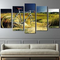 Vintage bicycle in the field storm canvas panel wall art picture poster
