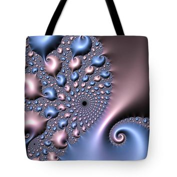 Pink And Blue Fractal Spirals Tote Bag