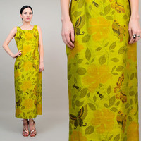 60s Silk Green Butterfly Floral Print Empire Waist 1970s Asian Mod Cocktail Party Sheath Dress Lime Gold Medium M