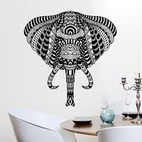 Wall Decals Elephant Vinyl Sticker Decor Art Bedroom Design Mural Ganesh Om Tatoo Head Mandala Tribal for Home Room Gift M1618