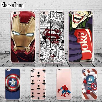 Cool Marvel Transparent TPU Case Cover For iPhone 6 6s 5 5s se 7 7Plus 8 X Batman Joker Superman Comics Pattern Coque