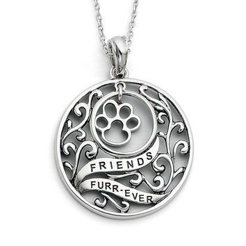 Rhodium Plated Sterling Silver Animal Friends, Paw Print Necklace