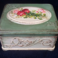 """Hand Made Vintage Jewelry Box style Dekape """"Morning"""". Antique Decoupage with Artistic portrayal."""