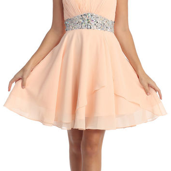 Short Chiffon Semi Formal Dress Peach Rhinestone Waist