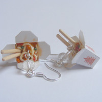 Chinese Noodles Take Out Miniature Food Earrings - Miniature Food Jewelry