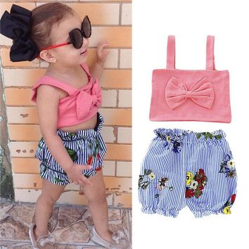 USA Kids Baby Girl Summer Outfits Bowknot Tops T-Shirt Pants Trousers 2PCS Set