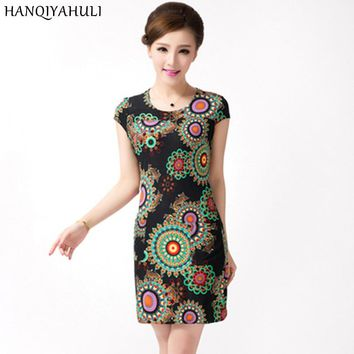 L-5XL Women dress summer Casual Plus Size Slim Tunic Milk Silk print Floral dresses sexy bodycon sundress vestidos mujer