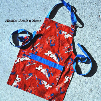 Boys Spiderman Apron, Kids Aprons, Aprons for Toddlers, Kids Cooking Class Aprons