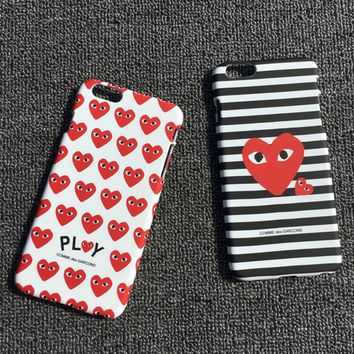 Play Fashion stripe silica gel phone case loving heart iPhone 6 s mobile phone shell iPhone 7 plus shell