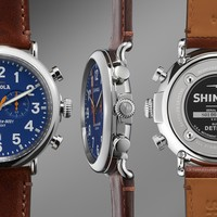 The Runwell Chrono 47mm Dark Brown Leather Strap Blue Dial Watch | Shinola®