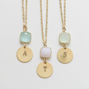 Personalized Necklaces | Birthstone & Initial Necklace | Birthstone Necklace | Monogram Bracelet |Bridesmaids Necklaces