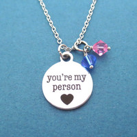 Personalized, Color, Two, Birthstone, you're my person, Grey's Anatomy, Heart, Necklace, Birth, Stone, Custom, Color, Birthday, Gift