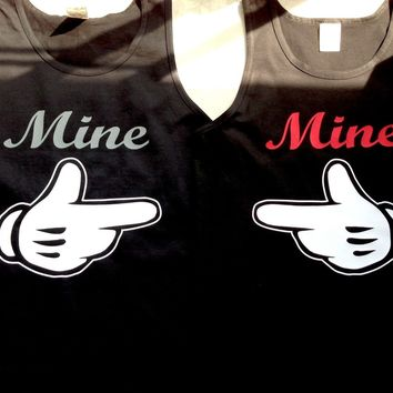 Mine Couples Disney (2) Tank Tops Mickey Black Sizes S M L XL 2XL 100% Cotton